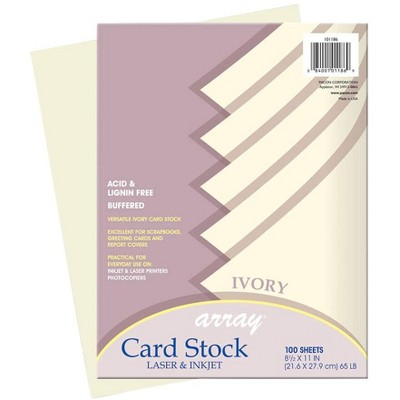Array Card Stock Paper, 8-1/2 x 11 Inches, Ivory, pk of 100