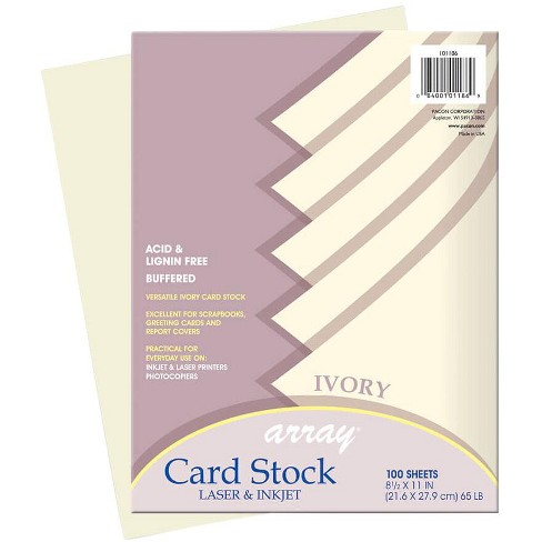 Array Card Stock Paper, 8-1/2 x 11 Inches, Ivory, pk of 100 - image 1 of 1