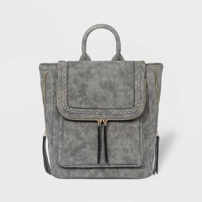 VR NYC Magnetic Closure Braid Trim Shoulder Handbag - Gray