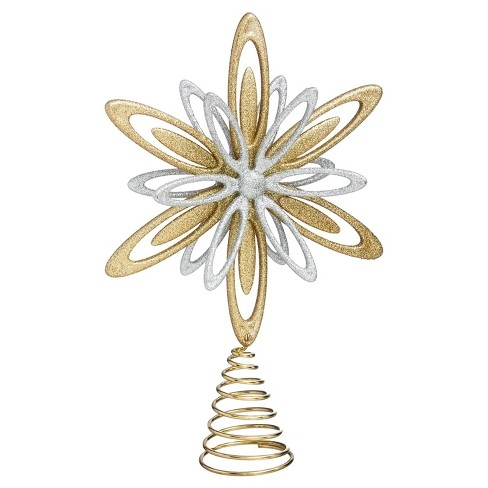"12"" Star Christmas Tree Topper Gold and Silver - image 1 of 1"