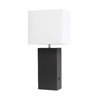 Leather Table Lamp with Fabric Shade Black - Elegant Designs