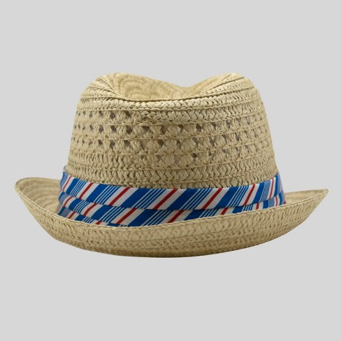 Toddler Boys' Straw Weave Fedora Cat & Jack™ - Neutral 2T-5T - image 1 of 2