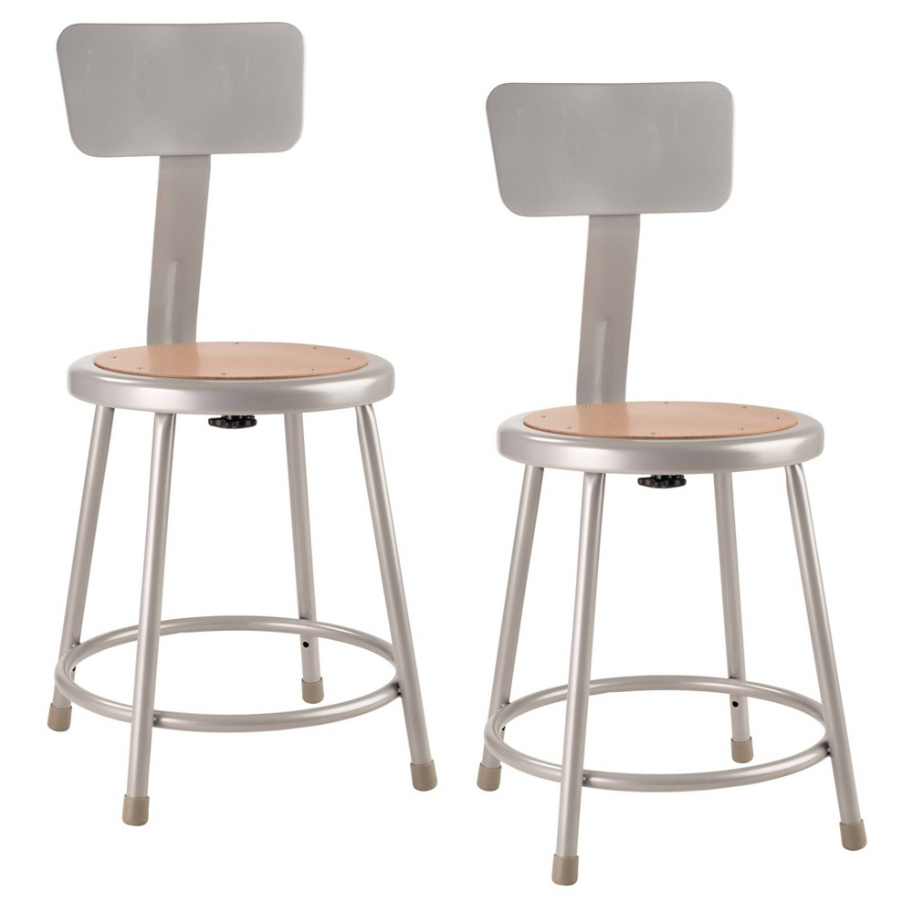 "Image of ""2pk 18"""" Heavy Duty Steel Stool with Backrest Gray - Hampton Collection"""