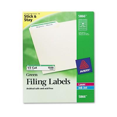 Avery Permanent File Folder Labels TrueBlock Inkjet/Laser Green Border 1500/Box 5866
