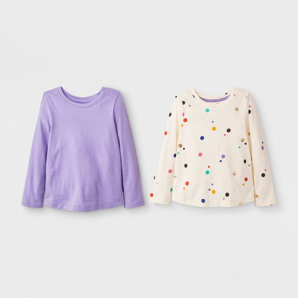 Toddler Girls' 2pk Long Sleeve T-Shirt Set - Cat & Jack Calla Lily 3T, White