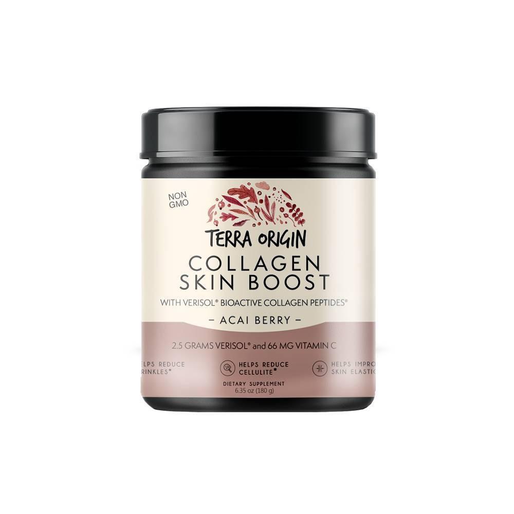 Image of Terra Origin Collagen Skin Boost Powder W/ Verisol Bioactive Collagen Peptides Acai Berry - 6.35oz