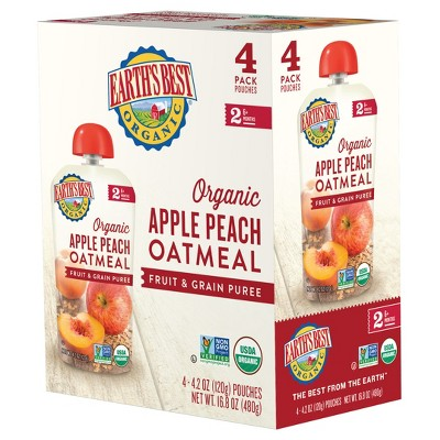 Earth's Best Organic Apple Peach Oatmeal Baby Food Pouch - (Select Count)