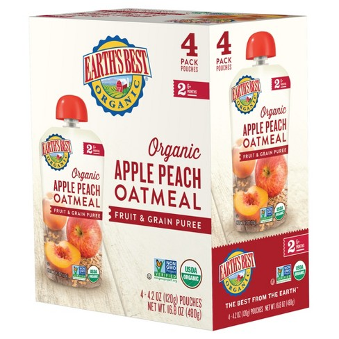Earth's Best Apple Peach Oatmeal - 4.2oz (4pk) - image 1 of 2