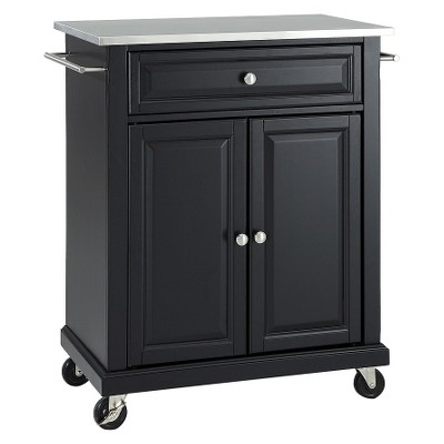 Portable Stainless Steel Top Kitchen Island Wood/Black - Crosley