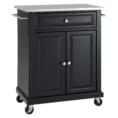 Portable Stainless Steel Top Kitchen Island Wood/Black - Crosley - image 1 of 3