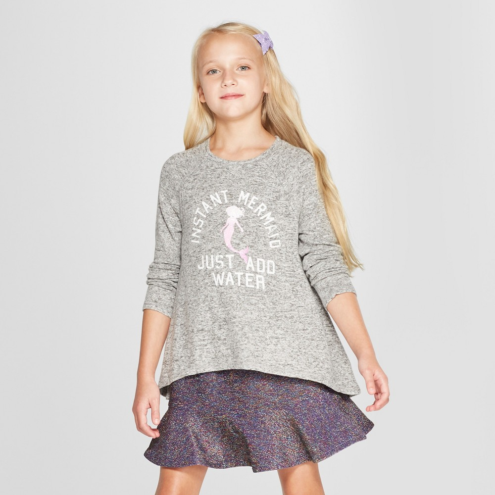 Grayson Social Girls' Graphic Long Sleeve Pullover - Gray XS