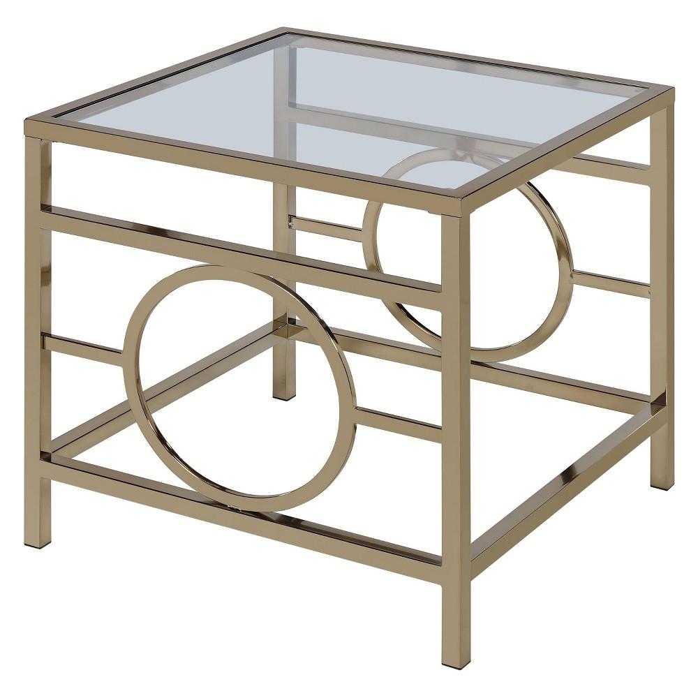 Jaxson End Table Clear Glass Champagne - Acme Furniture