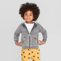 Toddler Boys' Camouflage Trim Zip-Up Hoodie Sweatshirt - art class™ Gray