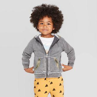Toddler Boys' Camouflage Trim Zip-Up Hoodie Sweatshirt - art class™ Gray 18M