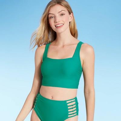 Women's Square Neck Longline Bikini Top - Shade & Shore™ Jewel Green