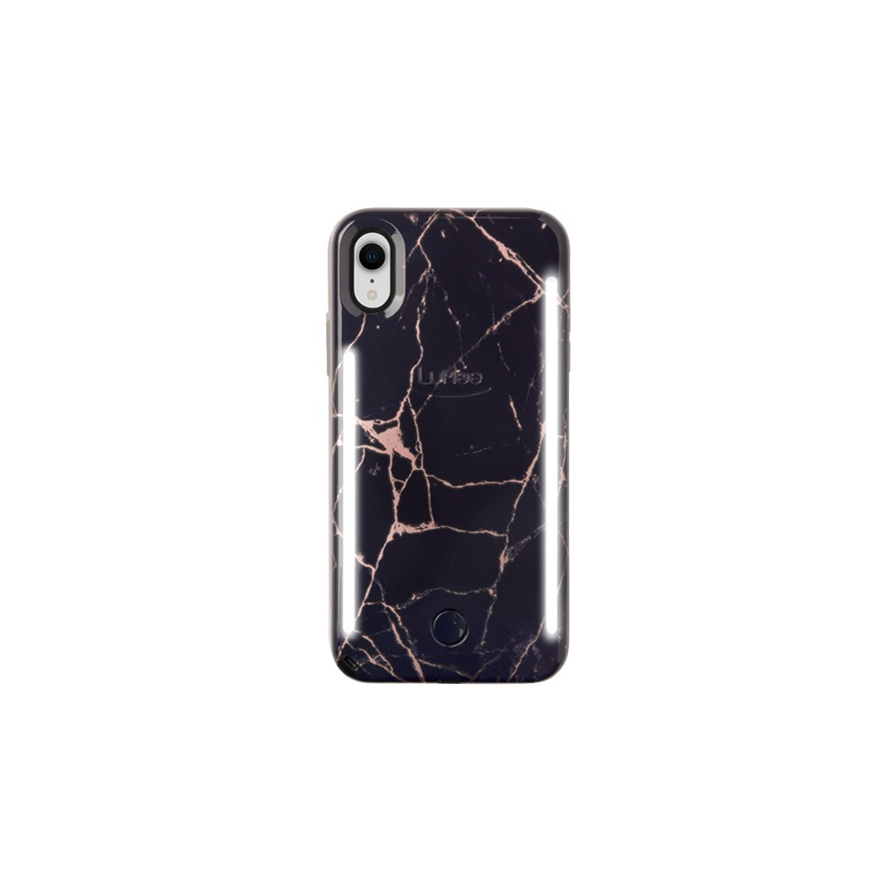 LuMee Apple iPhone XR Duo Marble Case - Metallic Rose/Black, Metallic Rose/Black Marble