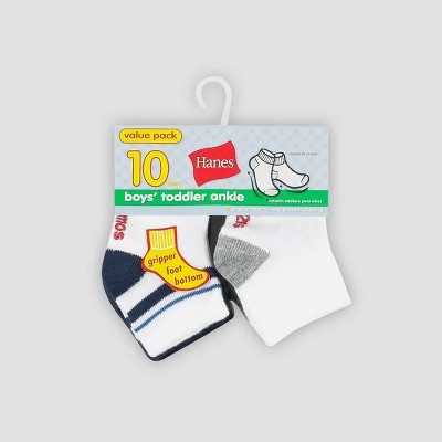 Hanes Toddler Boys' 10pk Athletic Socks - Colors Vary 12-24M
