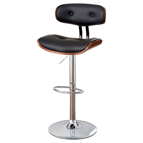Super Jada Adjustable Swivel Barstool Chrome Base Dark Oak Black Iohomes Pdpeps Interior Chair Design Pdpepsorg
