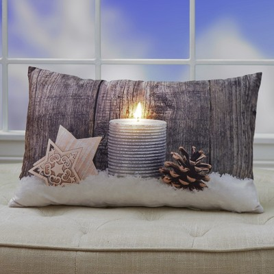 Lakeside Holiday Candle Print Lighted Accent Pillow with Hidden Battery Pack