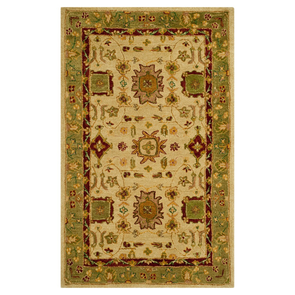 Ivory/Green Floral Tufted Accent Rug 3'X5' - Safavieh, White