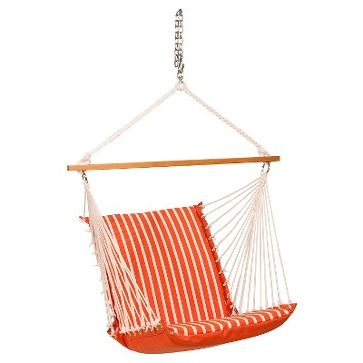 Algoma Sunbrella Soft Comfort Cushion Hanging Chair - Shore Flame Stripe/Canvas Melon Solid