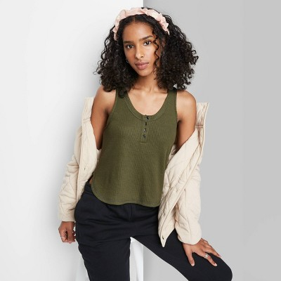 Women's Button Placket Waffle Tank Top - Wild Fable™
