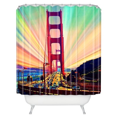 Colorful Commute Shower Curtain Green/Red - Deny Designs