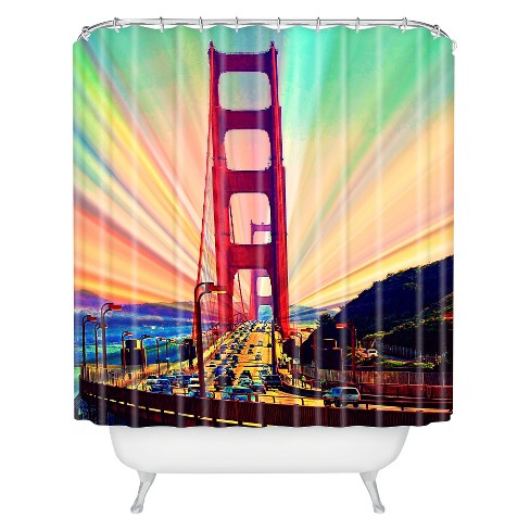 Colorful Commute Shower Curtain Green/Red - Deny Designs - image 1 of 1