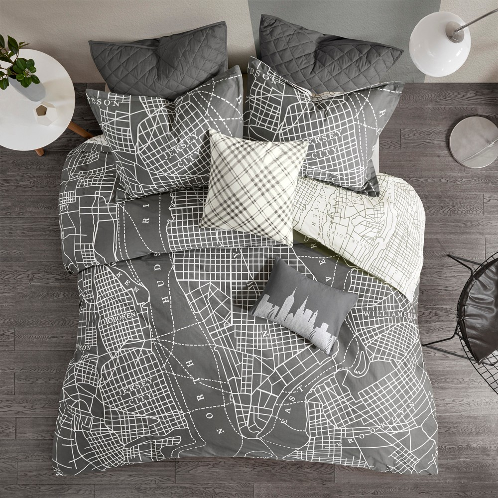 Image of 7pc Full/Queen Brooklyn Reversible Cotton Duvet Cover Set Charcoal, Gray