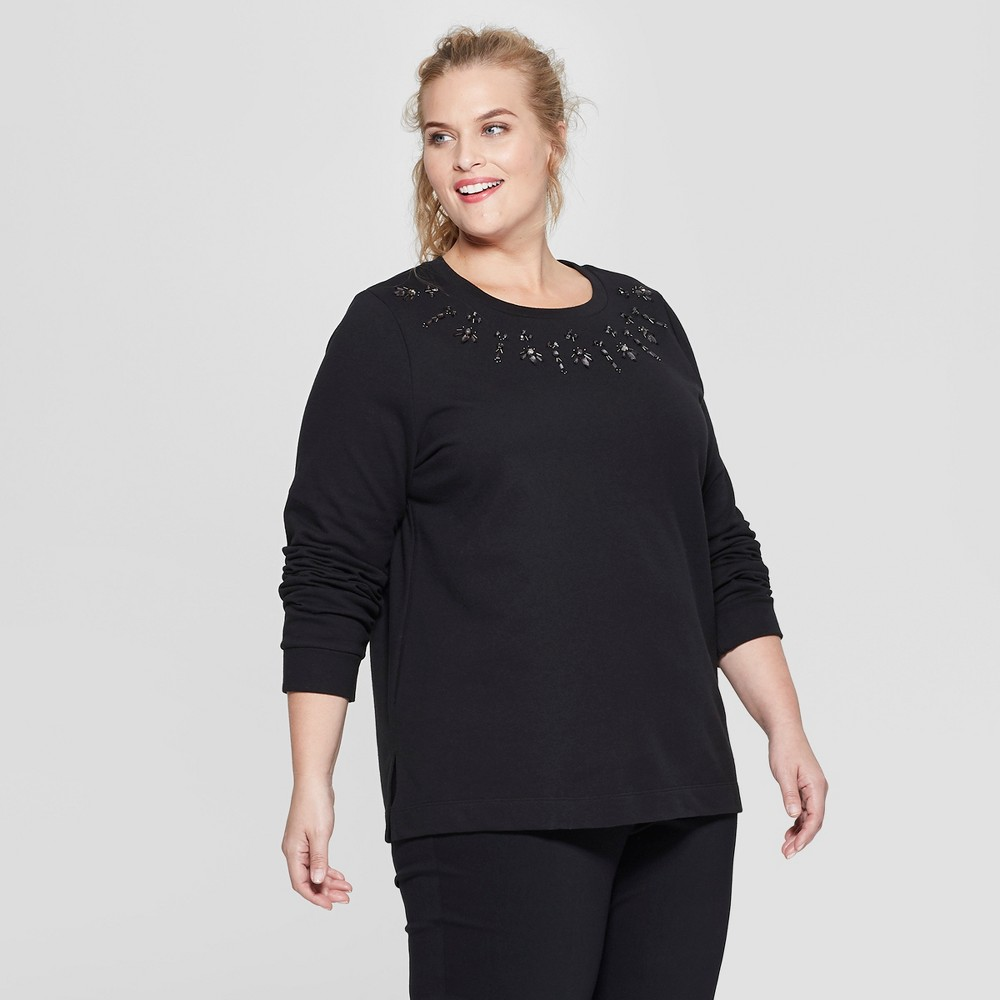 Women's Plus Size Embellished Long Sleeve Pullover - Ava & Viv Black 4X