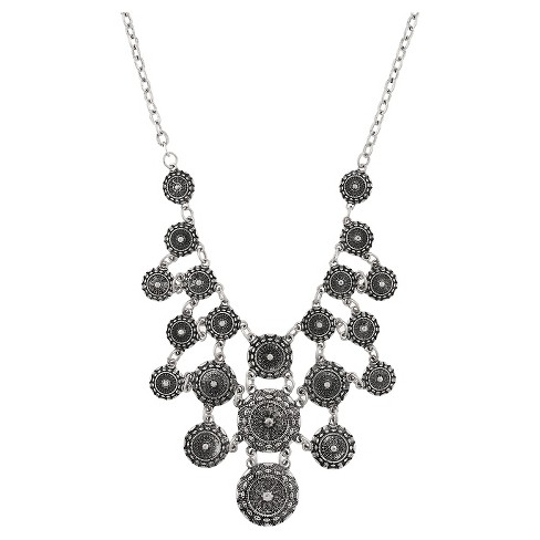 Women's Necklace Statement with Multi Textured Round Coin Castings - Silver Ox - image 1 of 2
