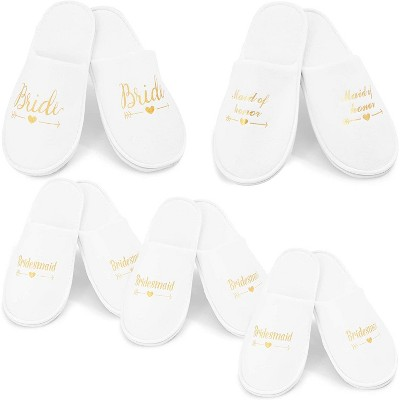 Sparkle and Bash 5 Pairs Wedding Spa Slippers for Bride to Be, Bridesmaid, Bridal Shower, Party Gifts, White & Gold