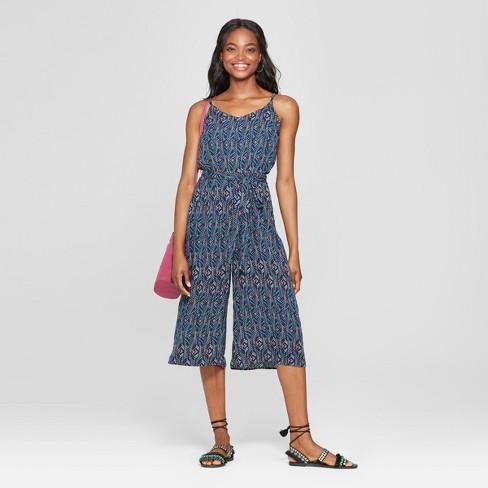 b37a175464f Women s Tribal Print Sleeveless Tie Waist Jumpsuit - Lily Star (Juniors )  Navy
