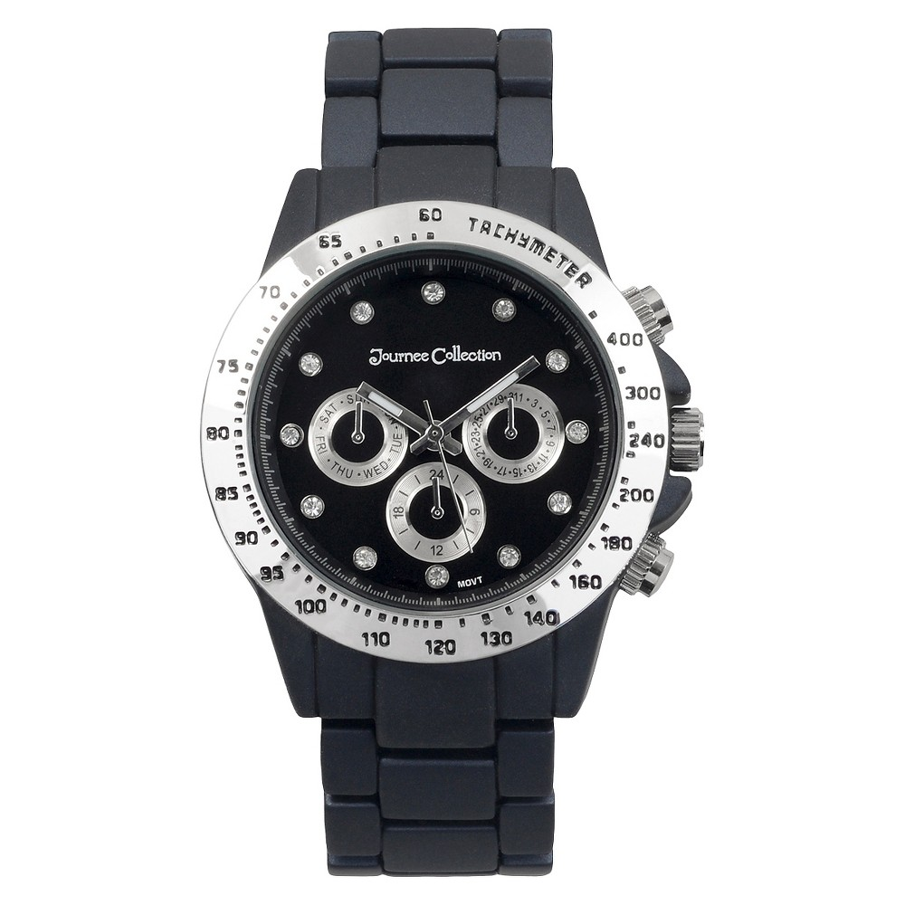 Women's Journee Collection Rhinestone Accented Metal Link Watch - Black