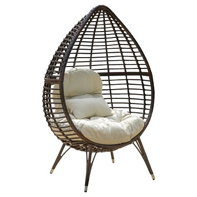 Cutter Teardrop Wicker Patio Lounge Chair with Cushion - Brown - Christopher Knight Home