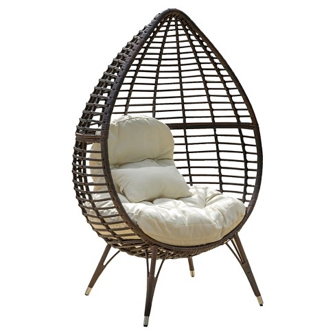 Cutter Teardrop Wicker Patio Lounge Chair with Cushion - Brown - Christopher Knight Home - image 1 of 4