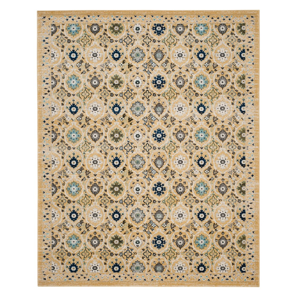 Floral Loomed Area Rug Gold/Ivory