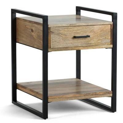 "20"" Lawson Solid Mango Wood End Table Natural - WyndenHall"