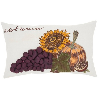 "12""x20"" Harvest Sunflower Throw Pillow White - Mina Victory"