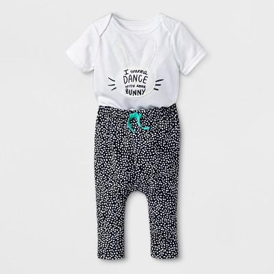 Baby Boys' 2pc Short Sleeve Bodysuit and Joggers Set - Cat & Jack™ White 6-9M