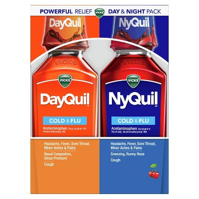Vicks DayQuil and NyQuil Cherry Cold, Flu and Congestion Medicine - 12 fl oz/2pk