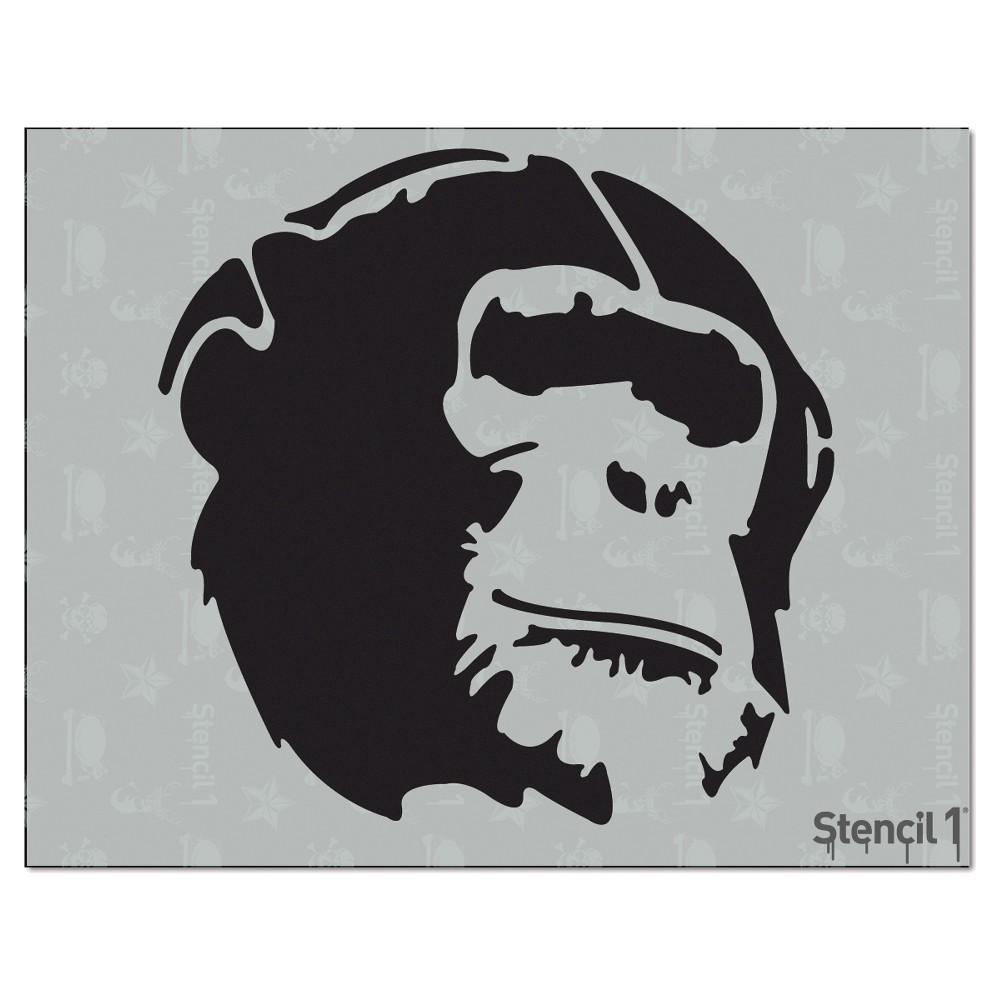 Stencil1 Chimp - Stencil 8.5 x 11, White