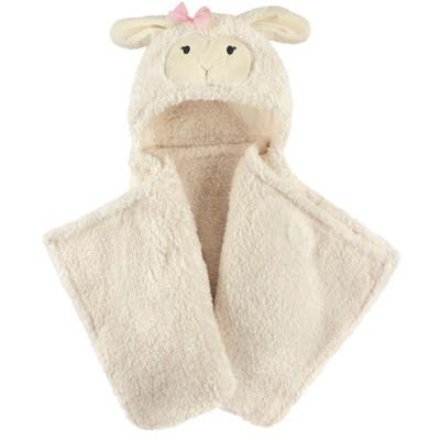 Hudson Baby Infant Girl Hooded Animal Face Plush Blanket, Girl Lamb, One Size