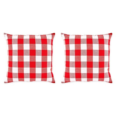 "2pk 20""x20"" Oversize Buffalo Check Square Throw Pillows Red/White - Design Imports"