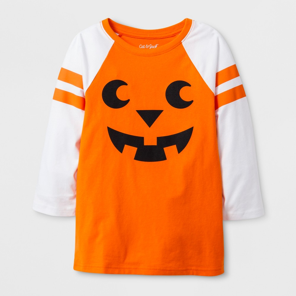 Kids' 3/4 Sleeve Jack'o'Lantern Raglan T-Shirt - Cat & Jack Orange M, Kids Unisex