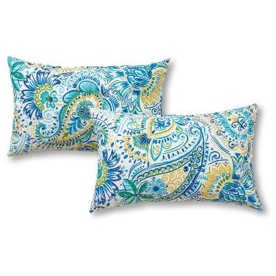 Set of 2 Painted Paisley Outdoor Rectangle Throw Pillows - Kensington Garden