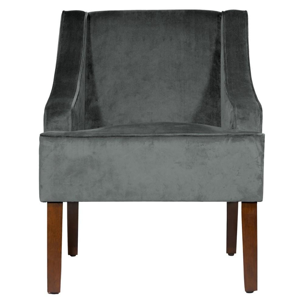Velvet Swoop Arm Chair Gunmetal (Grey) - HomePop