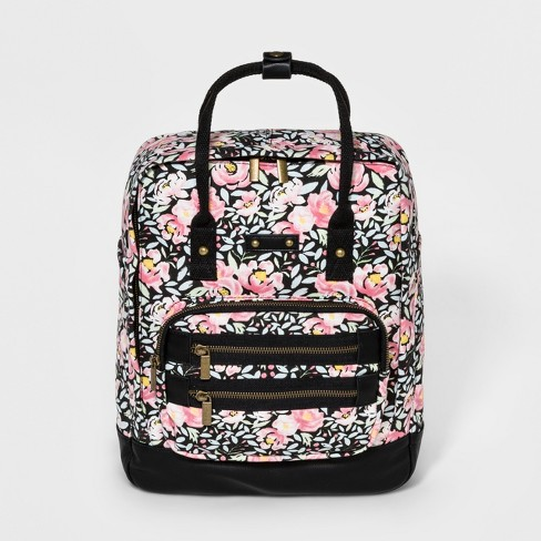 Mad Love Floral Print Square Canvas Backpack - Black - image 1 of 4