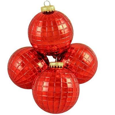 "Barcana 4ct Shiny Shatterproof Christmas Disco Ball Ornament Set 2.75"" - Red"