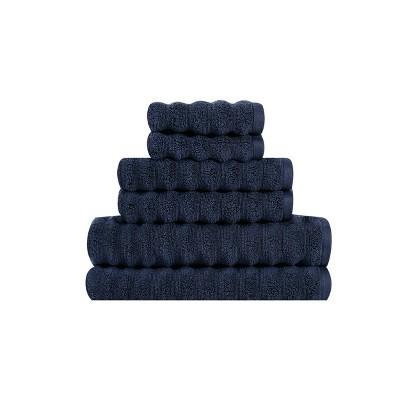 6pc 100% Cotton Zero Twist Bath Towel Set Navy - Sean John